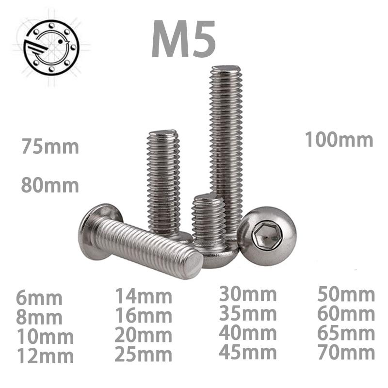 M5 Bolt A2-70 Button Head Socket Screw Bolt SUS304 Stainless Steel M5*(8/10/12/14/16/18/20/25/30/25/30/35/40/45/50~100) mm винт hexagon socket screw 10 16 20 25 30 35 40 45 50 55 60 65 120