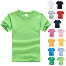 От 3 до 12 лет, летняя детская футболка с короткими рукавами футболка для мальчиков и девочек хлопковая Повседневная однотонная детская одежда 13 цветов