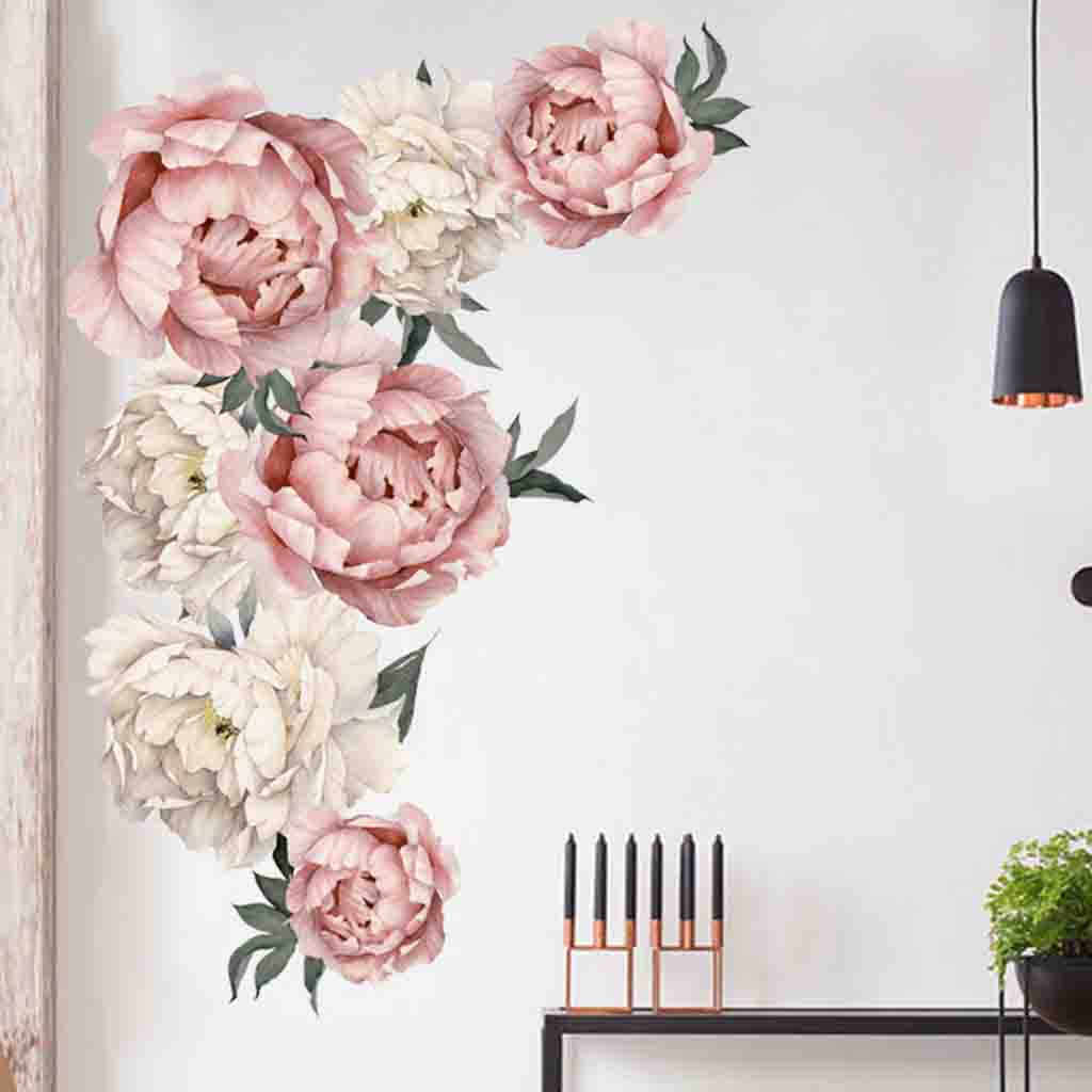 Wall stickers home decoration DIY peony rose flower wall stickers art nursery decals children's room home decoration gifts L0503