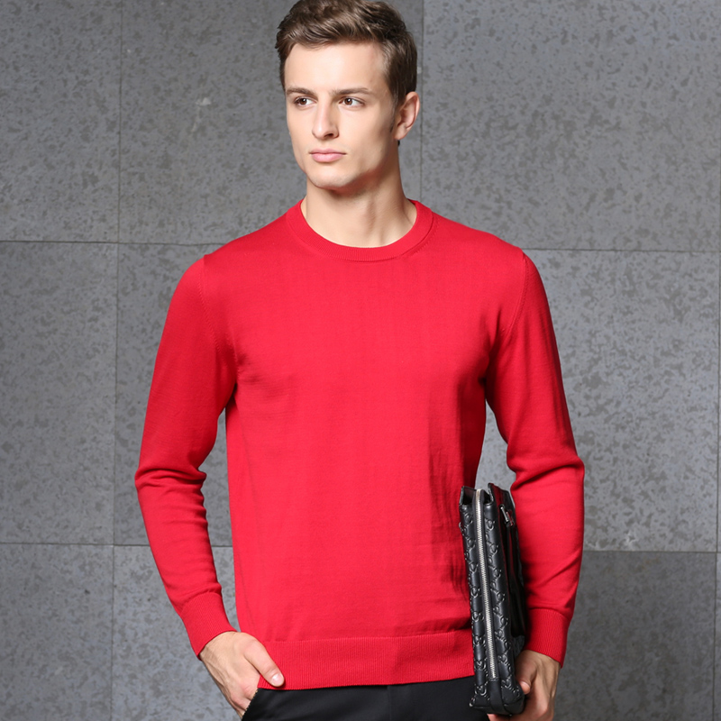 High Quality Autumn / Winter Mens Fashion O-Neck Knitting Plain 100% Cotton Pullover Sweater
