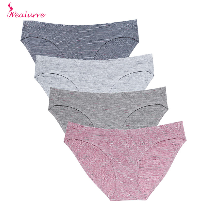 Wealurre Color Cotton Bikini Women's Breathable Sexy Panties Seamless Briefs Women Comfort Underwear Low Rise Panty Plus Eu Size