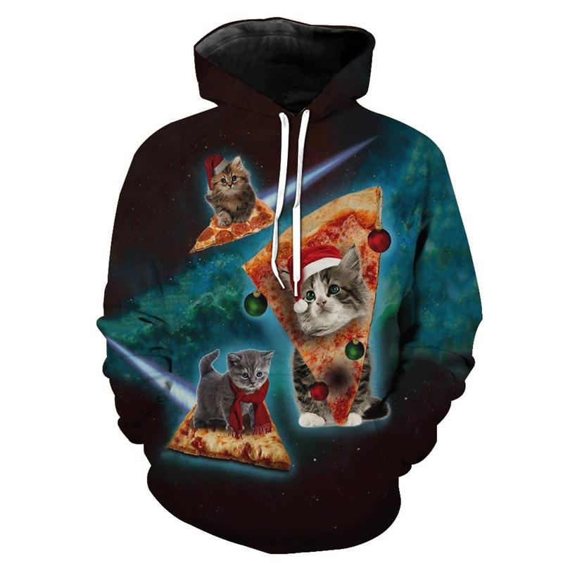 PLstar Cosmos Cute Hat Cat Hoodies 3D Cartoon Sweatshirts Men/women Tracksuits Cat Printing Hooded Hoodie Pullover Male/female