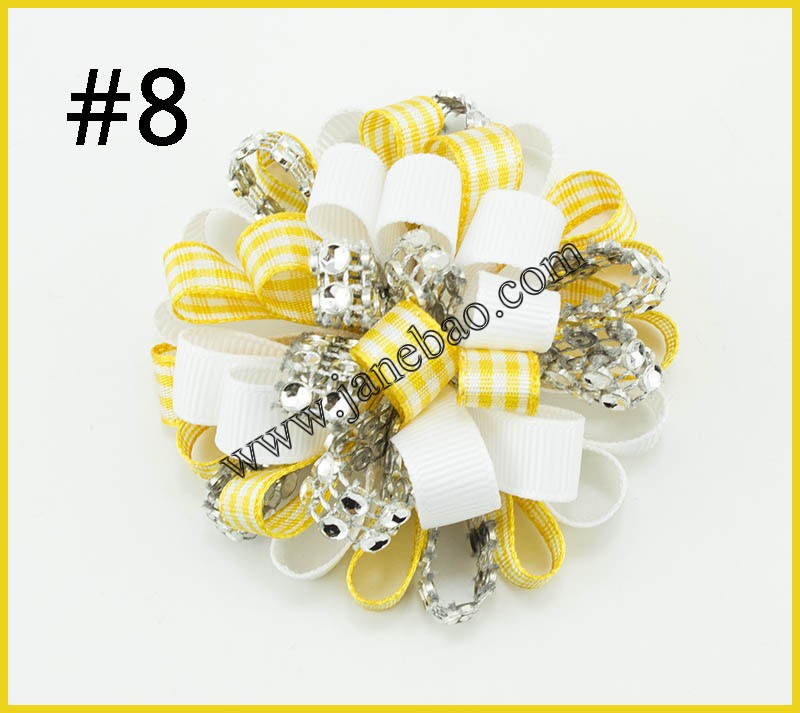 free shipping 50pcs 2 5 rhinestone Loopy Puffs Hairclip gingham plaid Hair bows Clips