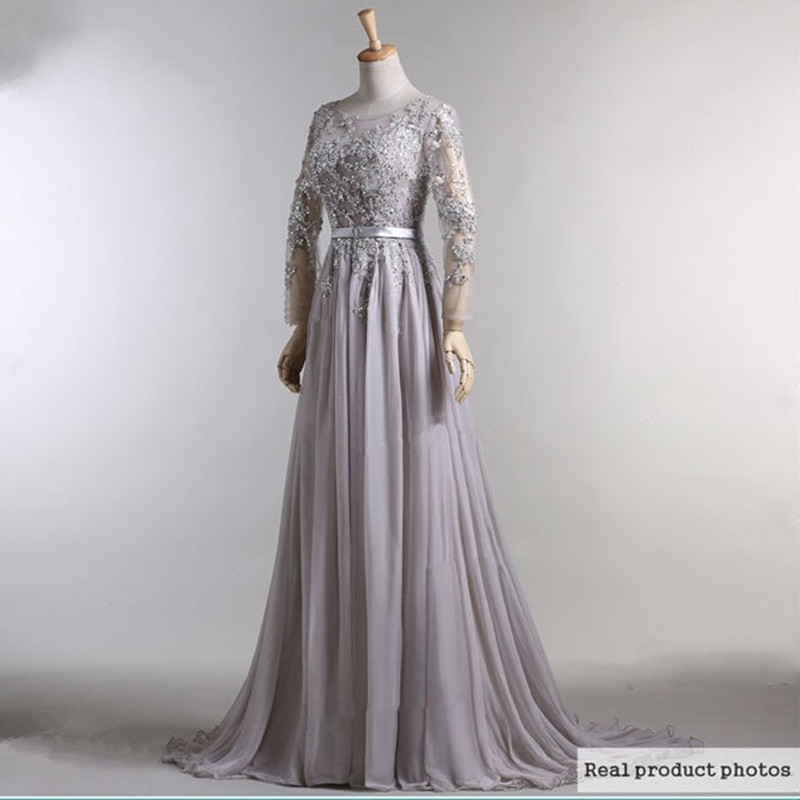 Elegant Long Sleeve Wedding Dresses Muslim Dress 2015: 2015 Hot Chiffon Long Sleeve Evening Dresses Grey Color