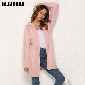 Autumn/Winter Fashion Long Sweet Color Knit Women Cardigan 2020 Solid Warm Casual Female Sweater Casaco with Pocket фото