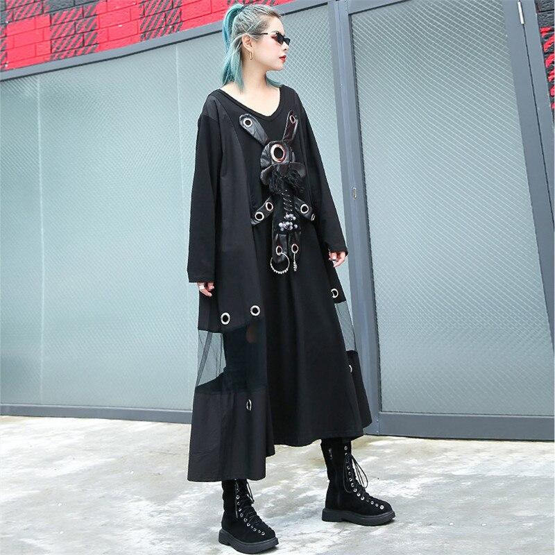 Johnature Streetwear Loose Summer Women Mesh Dresses 2019 New V Neck Patchwork Rabbits Sequined Cool Women