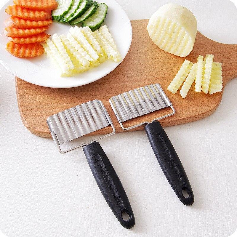 Rustfrit stål kartoffel bølgetærer fransk fries kartofler frites knive grøntsager frugt gulerødder skiver køkkenværktøj