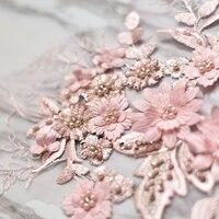 핑크 파란색 꽃 자수 패치 레이스 아플리케 재봉 웨딩 신부 드레스 베일 공예 의류 액세서리 장식