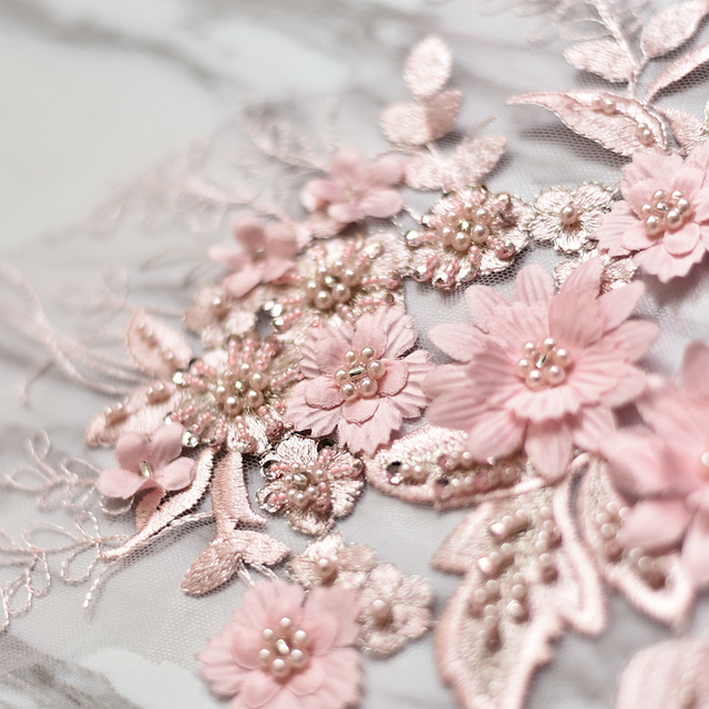 Pink beaded flower embroidery patch lace fabric applique Sewing wedding  Bride Dress veil craft garment accessories decoration d3c85d862498