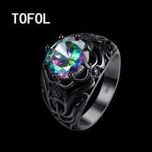 TOFOL Black Fashion Hollow Ring 2017 New Wedding Rings Finger Rings Metal Colorful Zirconium Creative Finger-ring US Size 6 7 8