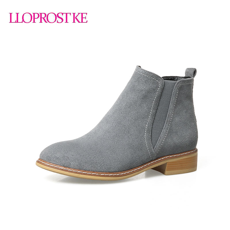 LLOPROST KE women ankle boots classic chelsea boots round toe shoes low heel thick heel platform lady shoes size 33-43 GL069 lloprost ke faux fur ankle boots women casual shoes botas slip on platform low heel mujer winter autumn boots big size zz041