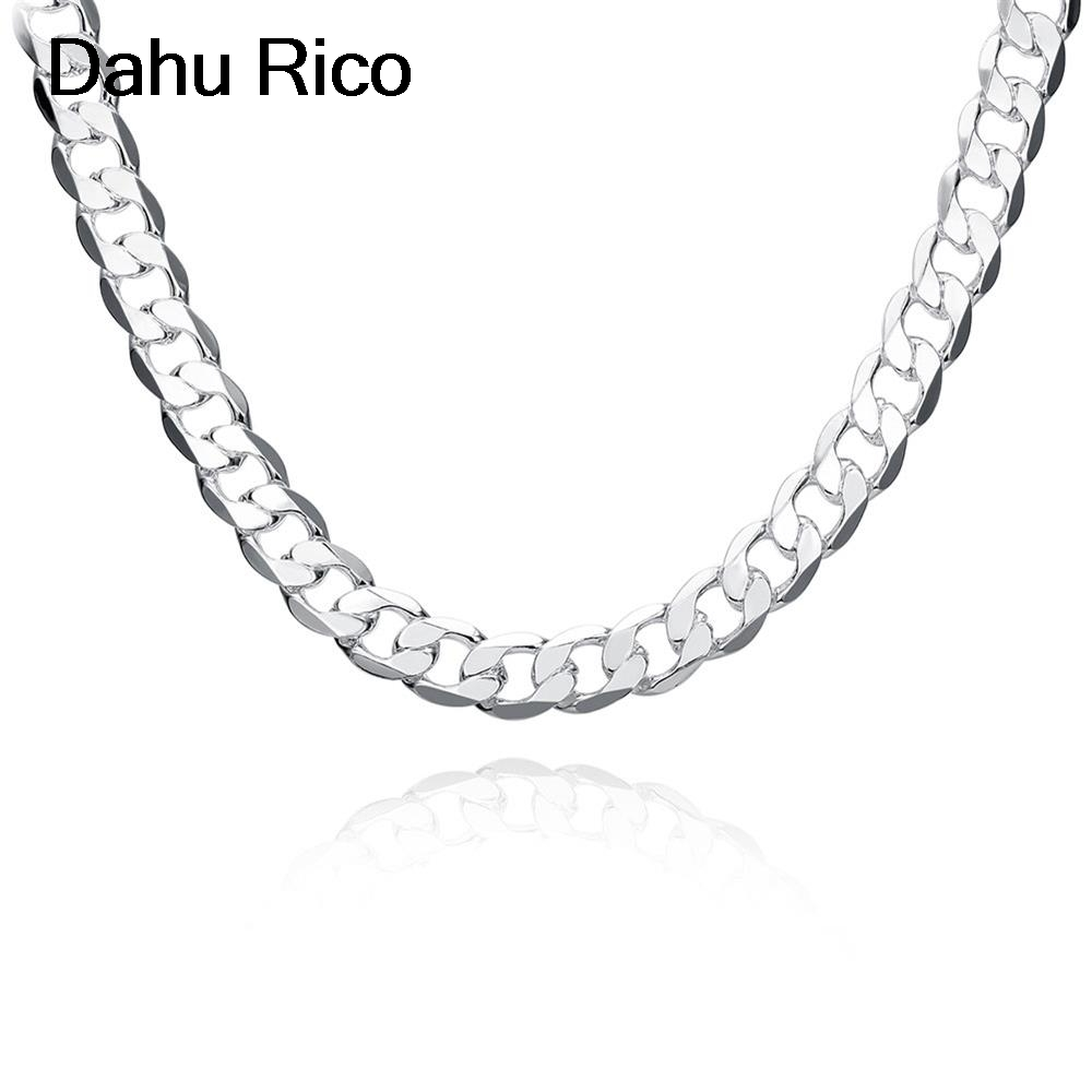 12mm men colier sautoirs zincir chain women femininos men fathers day zilver silver plated indien african eg Dahu Rico necklaces