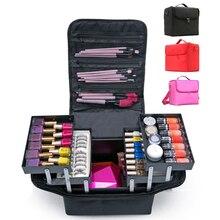 Multilayer Clapboard Cosmetic Bag Case Beauty Salon Tattoos Nail Art Tool Bin Fashion Women Makeup Organizer Large Capacity