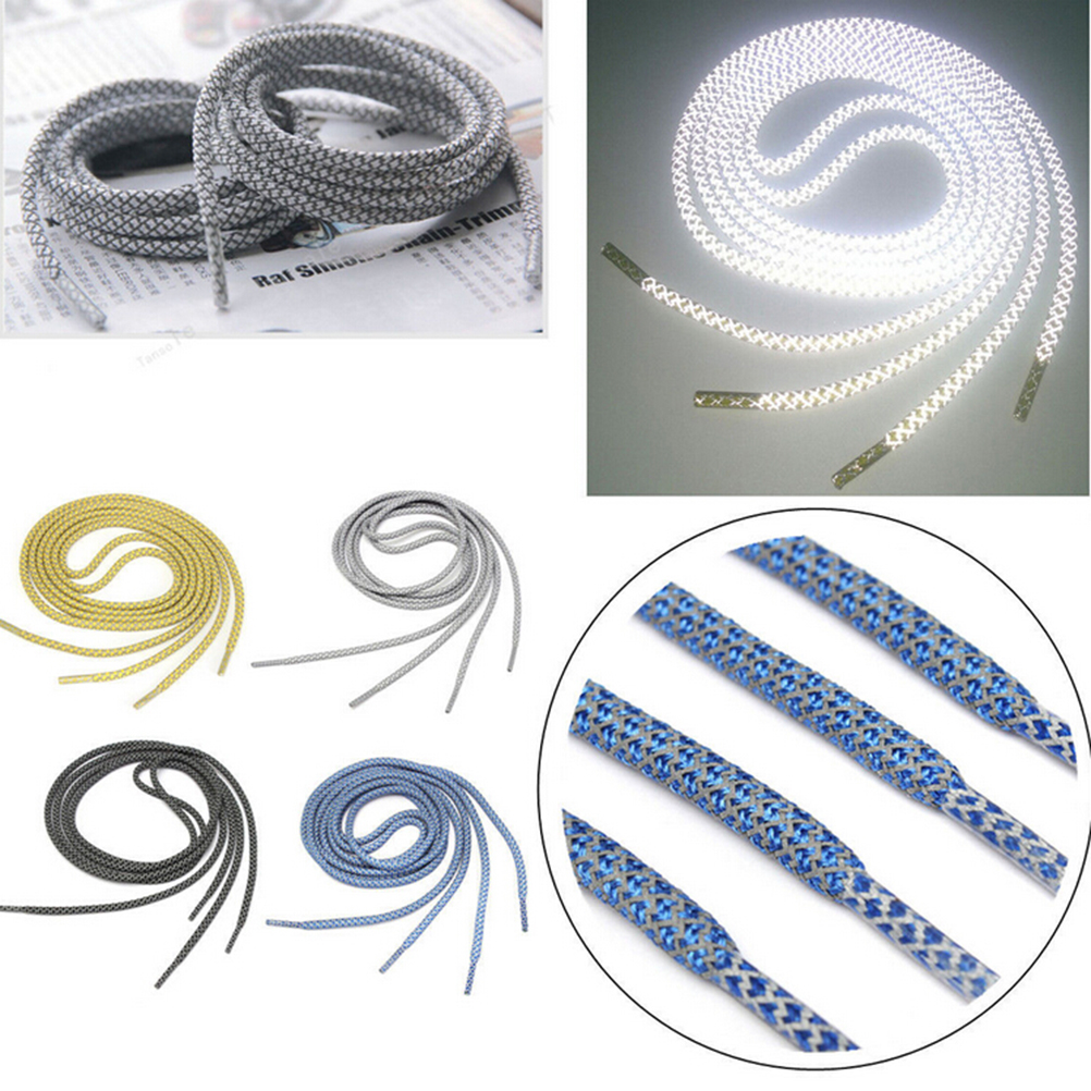 1Pair 120CM Reflective Runner Shoe Laces Visible Safety Shoelaces Custom Shoestrings For Ultra Boost Basketball Shoes Round Rope