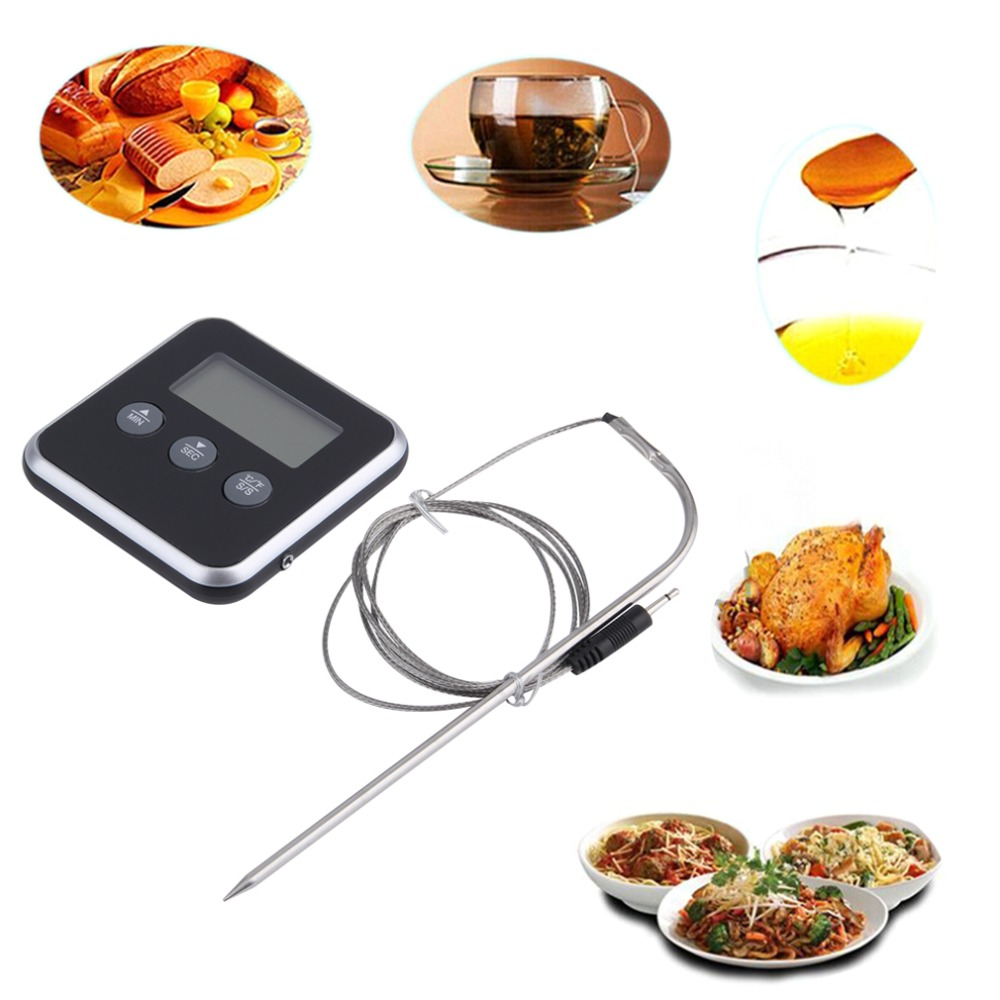 1Pc Digital C/F Food Thermometer Stainless Probe Timer Meter Household Cooking BBQ Meat Thermometer Display Kitchen Gadgets