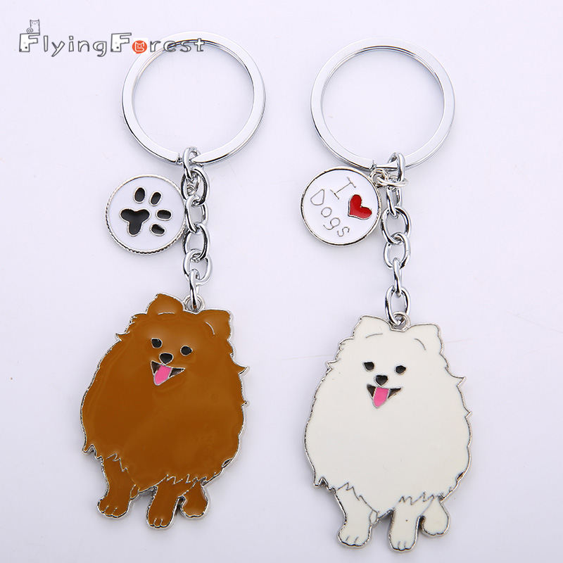 NEW Fashion Jewelry White/ Brown Pomeranian Keychain Pet Dogs Key Ring Gift For Woman Drop Shipping Can Wholesale Keyring Car