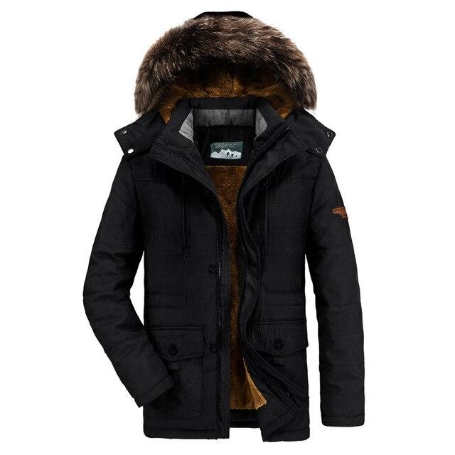 1a19cac8b8f0 Fashion Man Jacket Fur Hooded Bomber Jacket Men Winter Clothes Windproof  Windbreaker Warm Military Jacket Coat Jaqueta Masculina