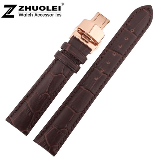 18 20 22 24 Preço de Atacado Top Quality Brown Genuine Leather Watch Strap Alligator Padrão Pulseira Rosa de Ouro Fecho de Implantação
