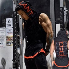 Brand Bodybuilding Stringer Tank Tops Hoodies Sportwear Tanktops Fitness Men gyms Clothing sleeveless t-shirts with hoodie