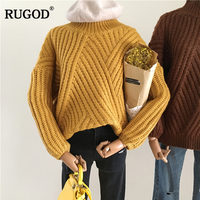 Rugod Women Sweater Turtleneck Pullovers 2017 Striped Knit Autumn Winter Knitted Sweater Long Sleeve Jumper Pull