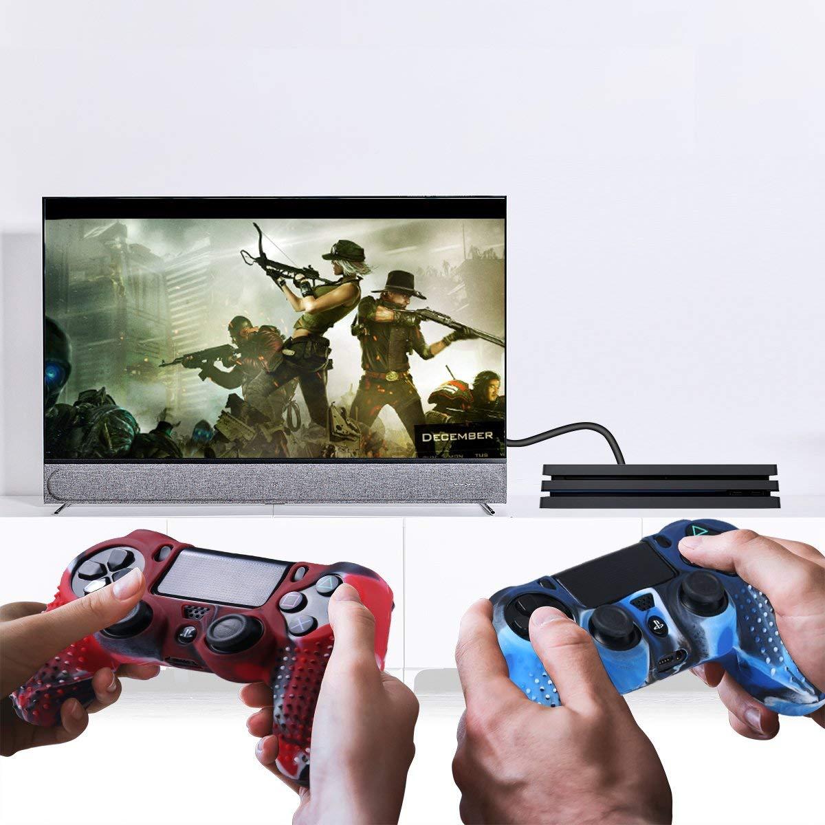 Купить с кэшбэком Yoteen 13 In 1 for PS4 Controller Case Silicone Unti-slip Dot Joystick Cap Light Bar Sticker and Dualshock 4 Charging Dock