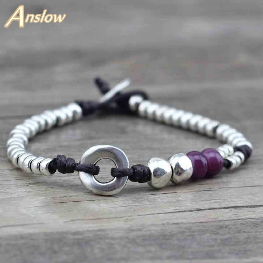 Anslow New Design Handmade DIY Vintage Antique Silver Beads Best - Fashion Jewelry