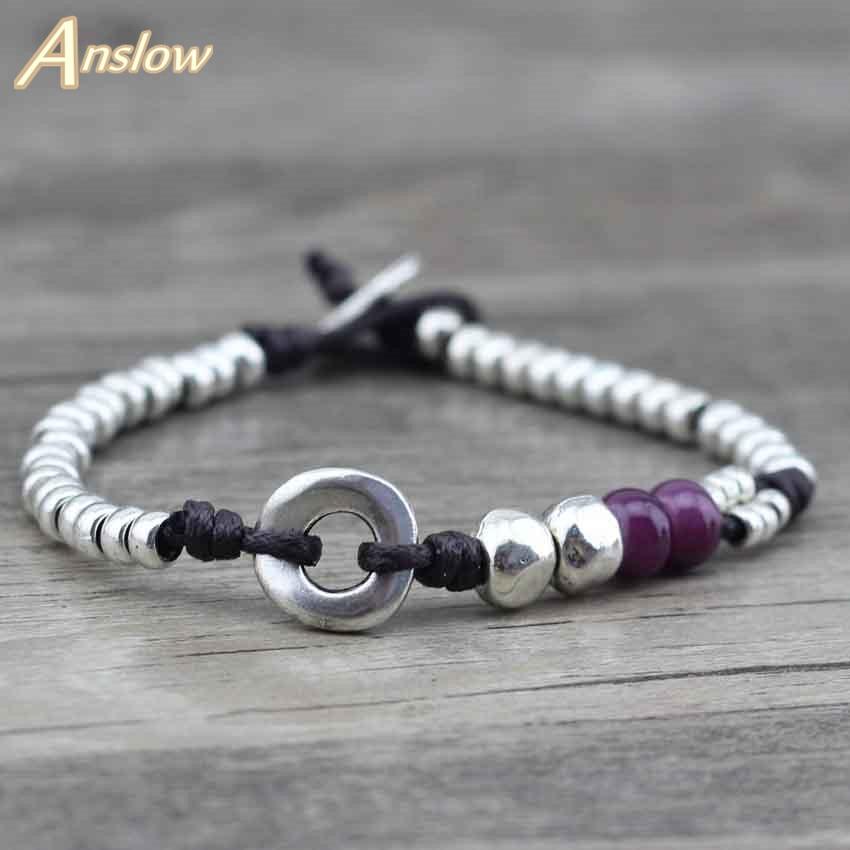 Anslow Nouveau Design À La Main DIY Vintage Antique Argent Perles Meilleur Ami Amitié Corde Bracelet Pour Les Femmes Bijoux LOW0456LB