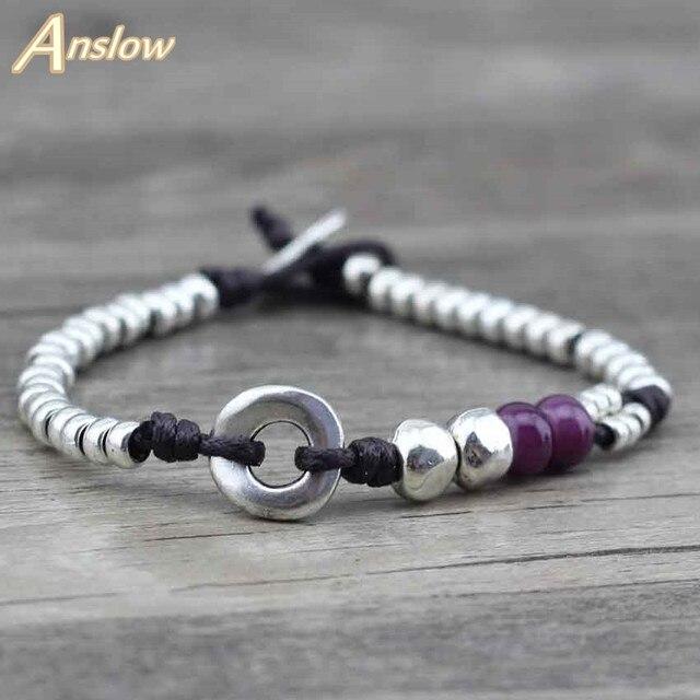 Anslow New Design Handmade DIY Vintage Antique Silver Beads Best Friend Friendsh
