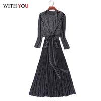 Одноцветное Цвет вязание с длинным рукавом шнурок Пальто с круглым вырезом Высокая Талия плиссированное платье 2019 осенью новый Для женщин