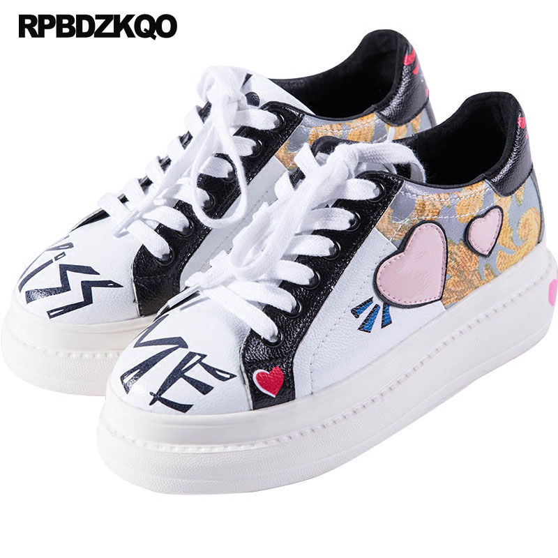 ffa3f7e09dbe Thick Sole Women Elevator Printed Genuine Leather Creepers Platform Shoes  Luxury White Heart Muffin Trainers Flats Sneakers