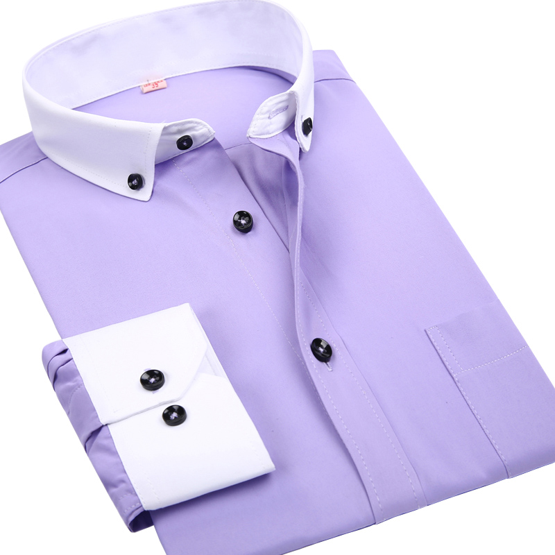 Colored dress shirts with white collar