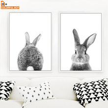 Wall Art Canvas Painting Cute Bunny Rabbit Black White Nordic Posters And Prints Wall Pictures For Living Room Kids Room Decor(China)