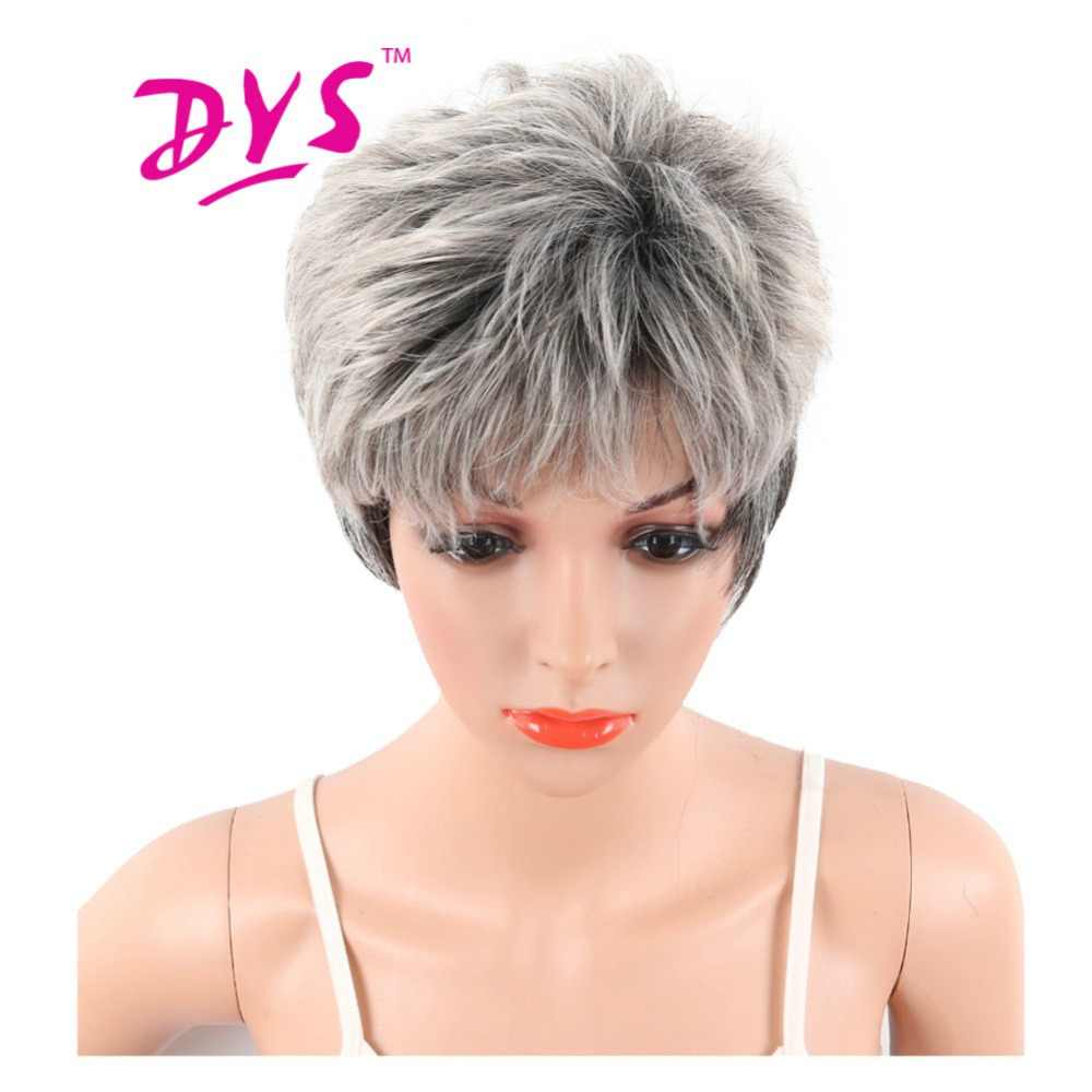 Deyngs Synthetic Wigs For Black And White Women Short Big Wavy Naturally Gray Mix Black Hairstyle Heat Resistant Pixie Cut Hair