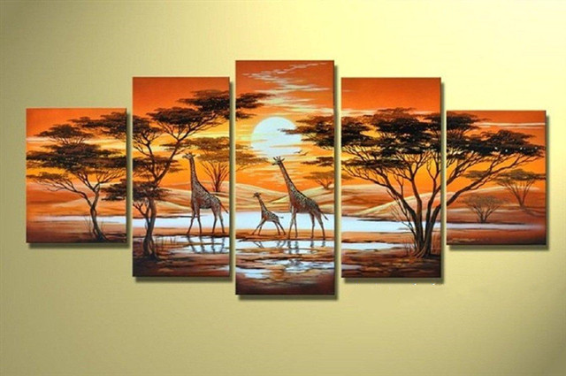 Hand Painted Giraffe Acrylic Paintings Modern Home Decor Wall Art 5 Panel Pictures Africa Tree Landscape