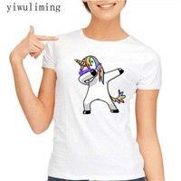 Dabbing Unicorn Women T Shirt Short Sleeve O Neck Tops Fashion Panda Pug Cartoon Printed Hip