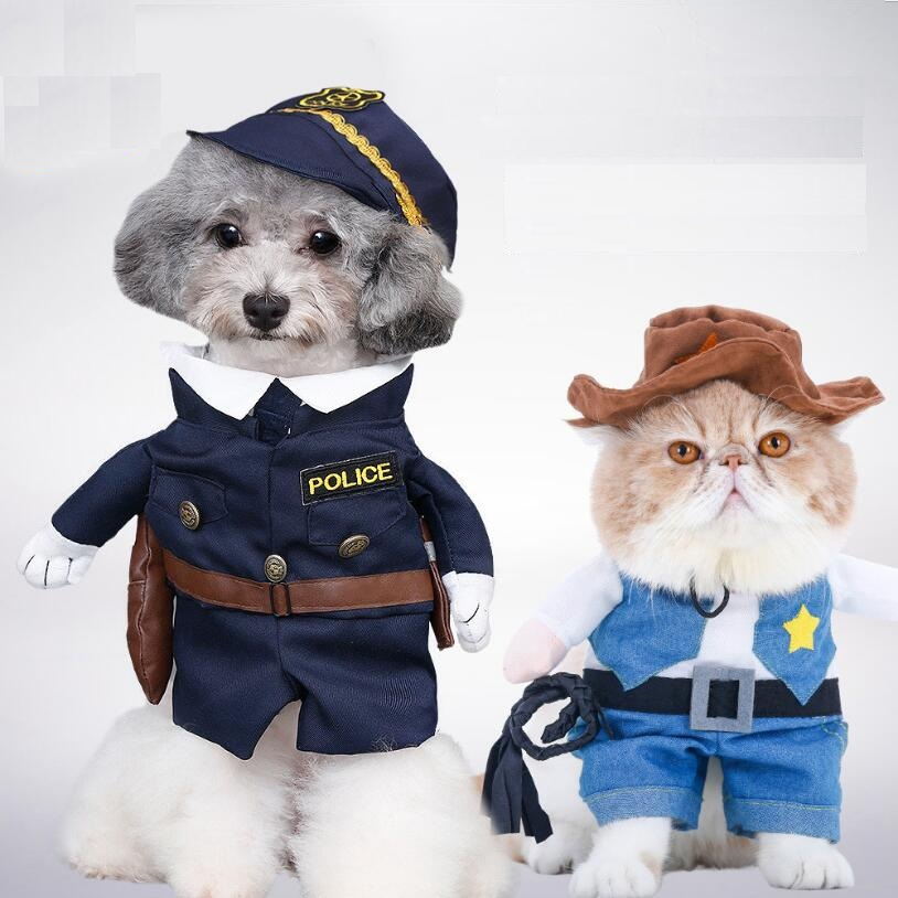Funny Pirate / Police style Pet Cat Costumes Uniform Suit Pet Cloth Dogs cats hat Pet Supplies for Small Cat Pet ...