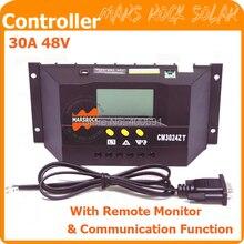 30A 48 В шим контроллер заряда регулятор с дистанционным монитор, Функции связь, Датчик температуры, Из светодиодов дисплей