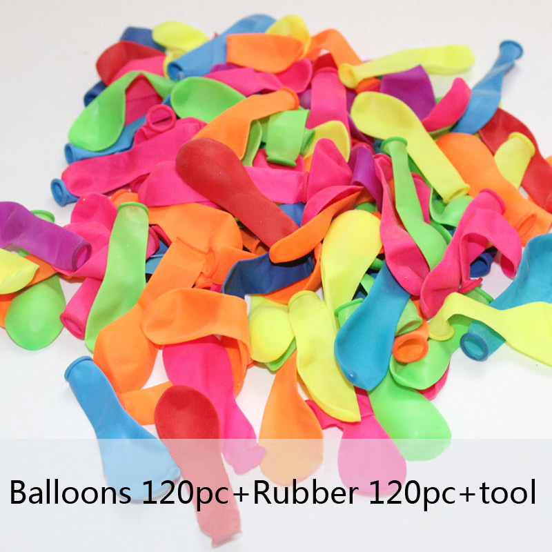 120pcs Water Balloons+120pcs Rubbers Bunch Balloons Supplementary Package Bombs Toys Kids Summer Beach Games Party Supplies