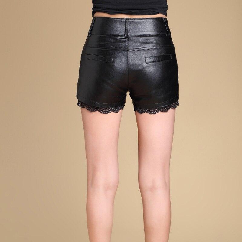 Svadilfari atacado 2017 novos calções de moda de pele de carneiro das mulheres calções mini shorts de couro sexy plus size preto curto feminino - 4
