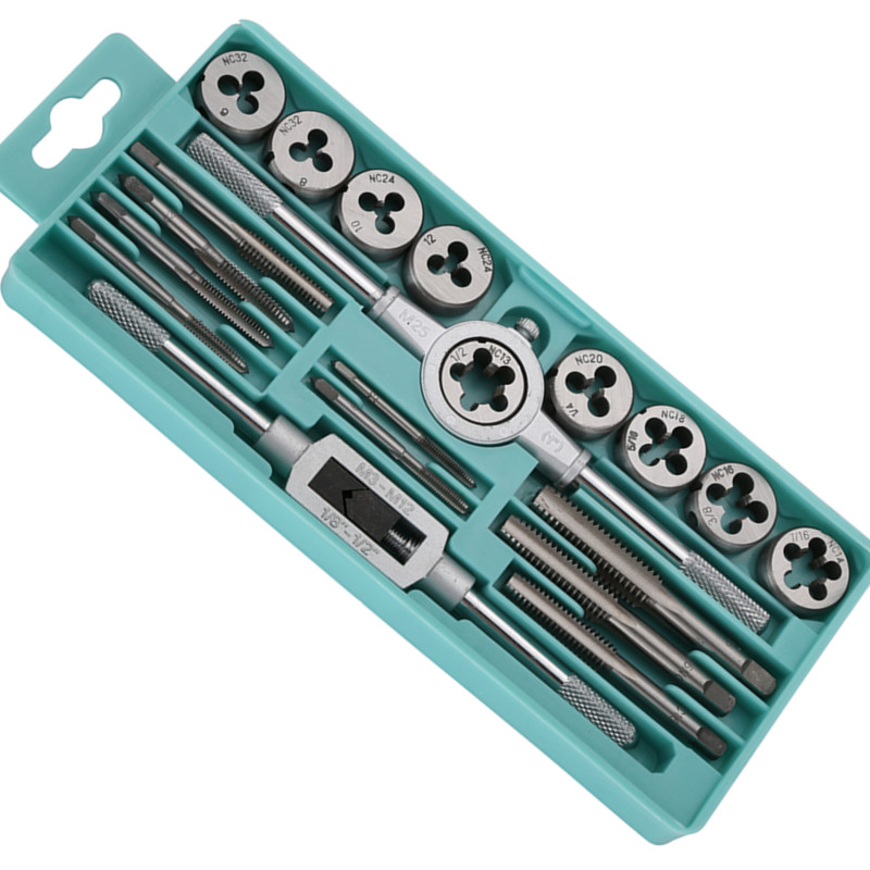 EVANX 20pcs Inch Tap Dies Set 1/2''-6''NC Screw Thread Plugs Taps Carbon Steel Hand Screw Taps Hand Tools diy carbon steel oval frame cutting dies