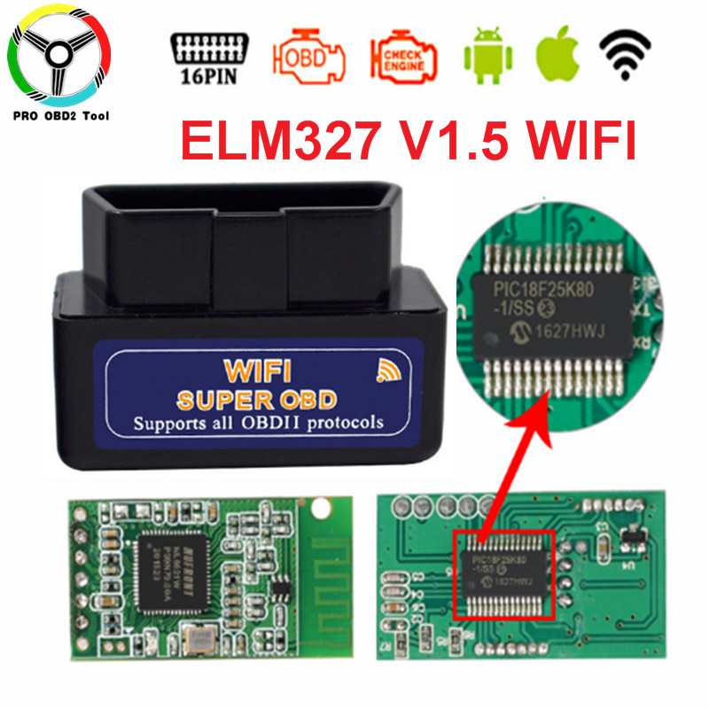 Super Mini ELM327 V1.5 Wifi OBD2 ELM327 PIC18F25K80 Chip ELM 327 V1.5 WI-FI OBDII OBD For Android/Ios/Windows/PC