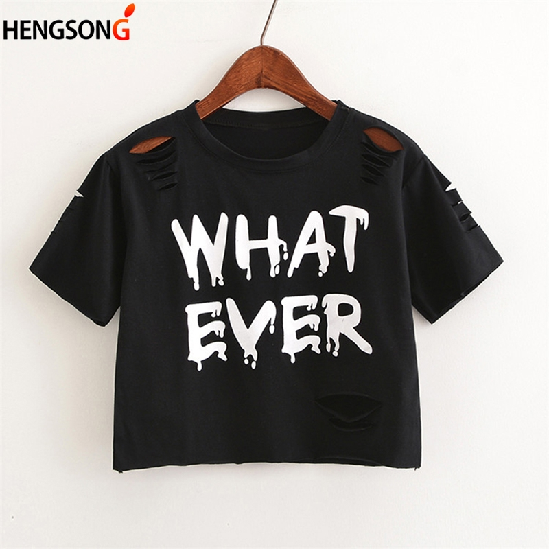 Letter WHAT EVER T Shirt Women Crop Tops Harajuku Crew Neck Short Sleeve Summer T-Shirts Female Tops For Girls