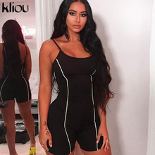 Kliou 2019 women sexy strapless playsuit neon color skinny bodysuit Reflective striped patchwork  strap backless fitness outfit