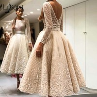 Elegant Bige Color Unique Lace Evening Dresses Full Sleeves V Back Ankle Length Prom Gowns 2019 Robe De Soiree Party Dresses