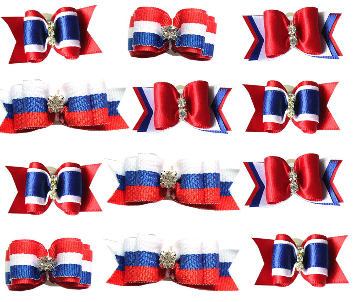 50pcs Whole Sale font b Pet b font Puppy Dog Cat Hair Bows 4th of July