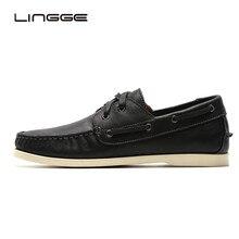 LINGGE/Водонепроницаемые мокасины; мужская повседневная обувь из черной кожи; мужская обувь на плоской подошве с 2 люверсами; весенние модельные туфли; Мягкие Удобные оксфорды