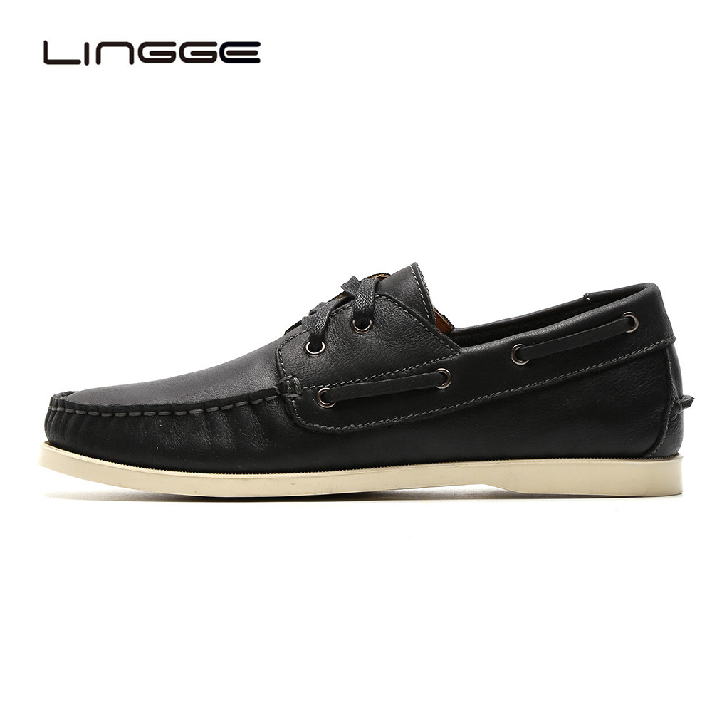 LINGGE Boat Shoes Men Black Leather Casual Shoes 2-eyelet Men's Flats Spring Dress Shoes Soft Comfortable Oxfords men eyelet embroidered plain blouse