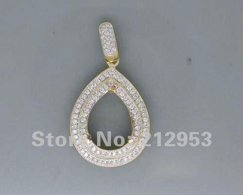 Forma de Pêra diamante Pingente 0.66Ct Pear 10x12mm Sólidos 14kt Ouro Amarelo Diamante Semi Montar Pingente Para Venda