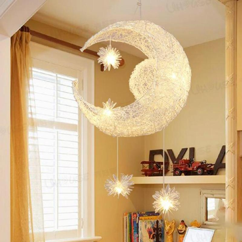 1pc Moon Home Decoration Rustic Pendant Lamp Stair Balcony Pendant Light Child Rustic Rattan Bar #30