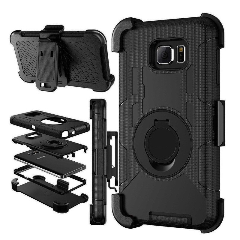 Phone Coque Case For Samsung S7 S6 Edge S5 Note 5 4 3 Rugged 3 in 1 Military Belt Clip Ring Holder Stand Case Shockproof Fundas